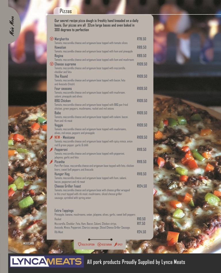 menu P12 pizza